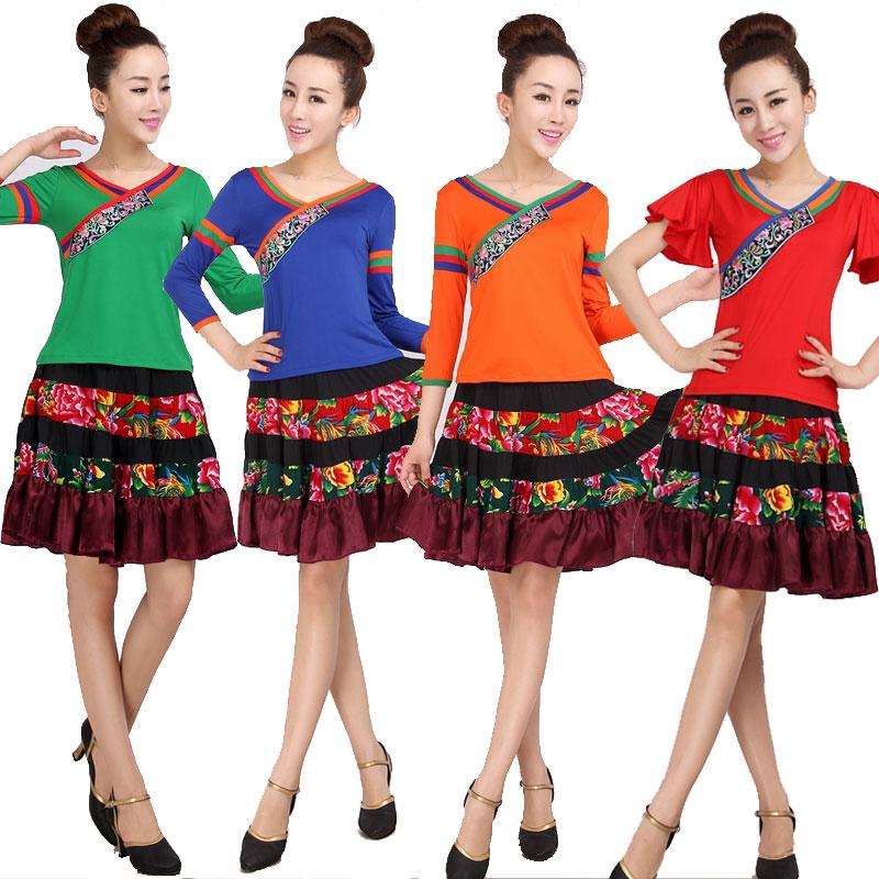 14夏季新款短袖大摆裙装广场舞服装云裳新款套装民族风藏服跳舞