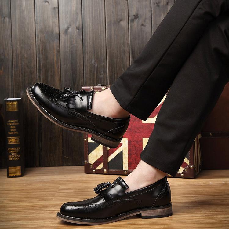 夏季布洛克雕花男鞋英伦休闲皮鞋男士流苏皮鞋真皮尖头男鞋子韩版
