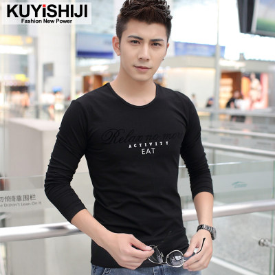 2014 autumn and winter long-sleeved t-shirt printing compassionate men cultivating cotton men's round neck t-shirt plus velvet backing shirt big yards