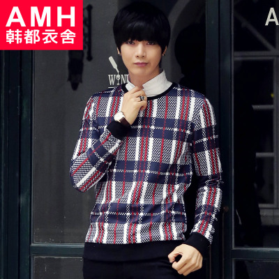 AMH Men's 2015 spring new Korean version of Slim round neck long-sleeved T-shirt printing Men QA4072 Kay buttercup