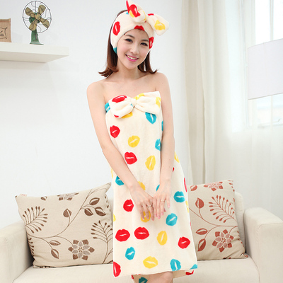 Spring cute princess coral velvet robe bathrobe sexy fashion Bra chest wrapped flannel pajamas butterfly