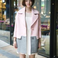 韩版女秋冬新款翻领九分袖拼接羊毛呢风衣单排扣加棉保暖外套大衣