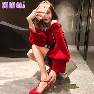 韩语琳空间秋装2018女气质性感露肩一字领腰带收腰显瘦连衣裙