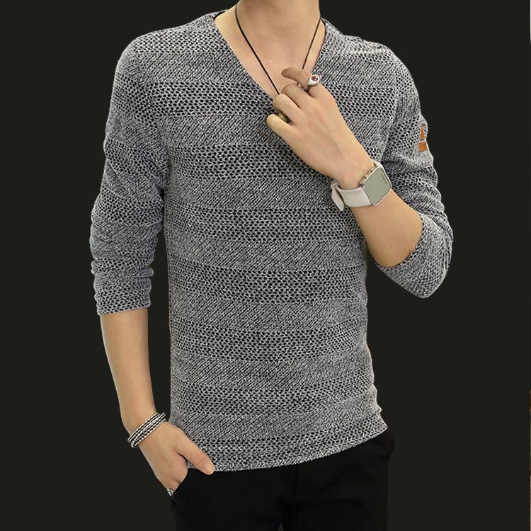 秋冬男士长袖t恤加绒加厚打底衫v领韩版修身青少年大码打底衫上衣