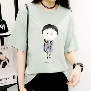 夏季简约T恤女装宽松t恤女短袖韩范卡通体恤打底衫女上衣韩版女装