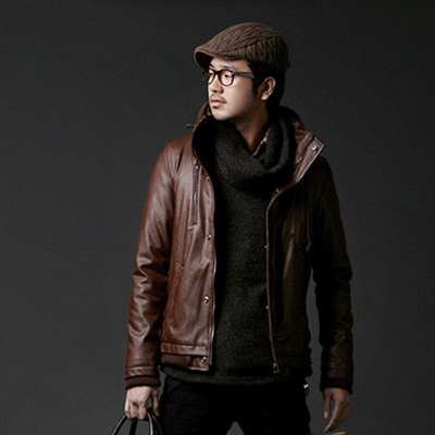 The new autumn and winter 2014 men's casual PU leather jacket Korean men's hooded leather jacket Slim influx of men