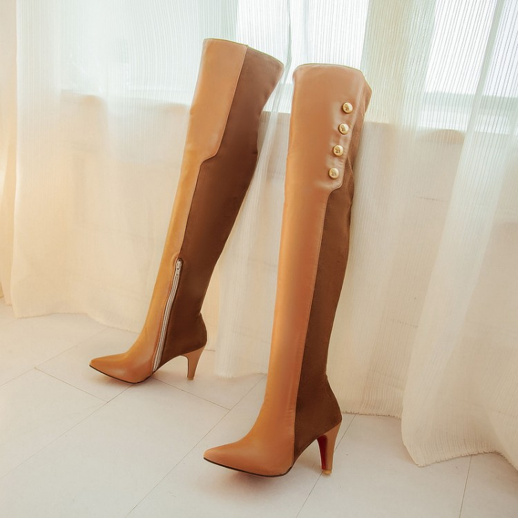 2014 new winter boots European and American big Korean fashion spell color pointed high-heeled knee boots women