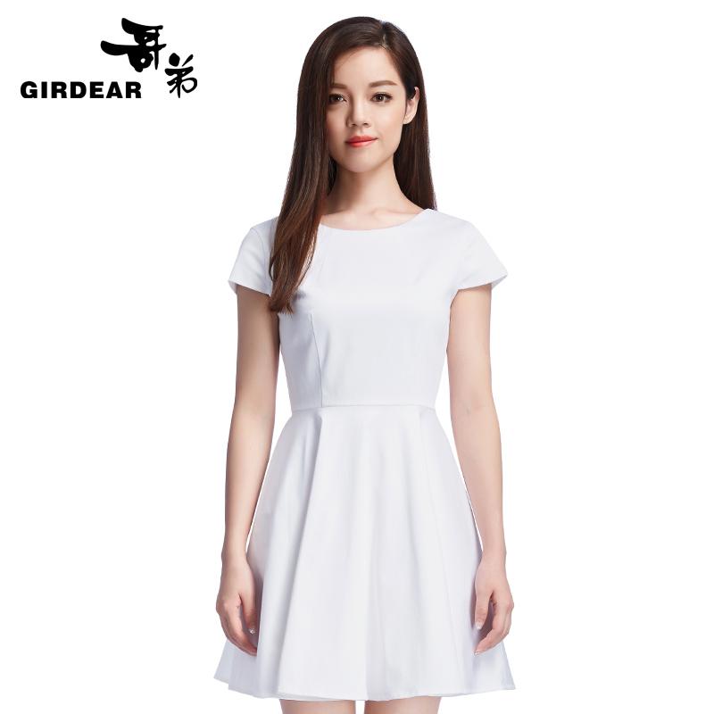 哥弟女装新品短袖高腰气质纯色百搭通勤连衣裙590066
