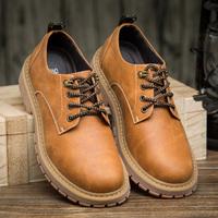 男士工装鞋牛筋底系带男鞋圆头休闲鞋复古英伦风时尚皮鞋大头皮鞋