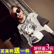 The new spring 20145 European and American fashion women's clothing comfortable leisure shirt printing T-shirt short tide restoring ancient ways Y44