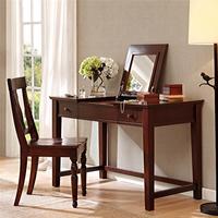 美式卧室复古化妆台 简约做旧实木梳妆桌 带抽屉储藏梳妆台化妆桌