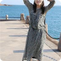【达尔湖的晨夕】长款假日大版文艺款连衣裙<原创民方族设计品牌>