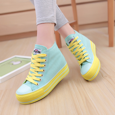 2014 autumn increase in the new candy-colored heavy-bottomed platform shoes to help low canvas shoes female Korean tidal girls shoes