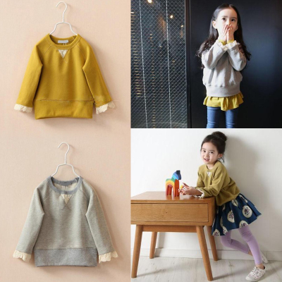 15-year spring new Korean wave of child girls small terry loose sweater solid color long-sleeved casual shirt T-shirt