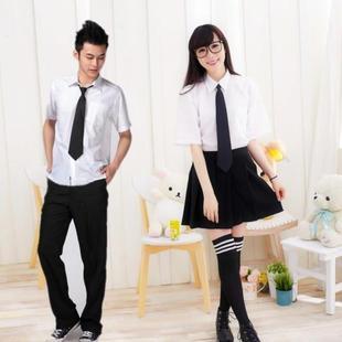 2014初高中学生校服班服长袖短袖白衬衫制服男女款套装