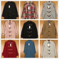 古着vintage日韩欧美渔夫牛角扣双面绒羊毛呢大衣保暖外套 M31
