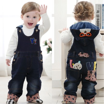 2014 Korean version of the children's hooded denim pants baby boys and girls plus thick velvet trousers overalls fall and winter clothes