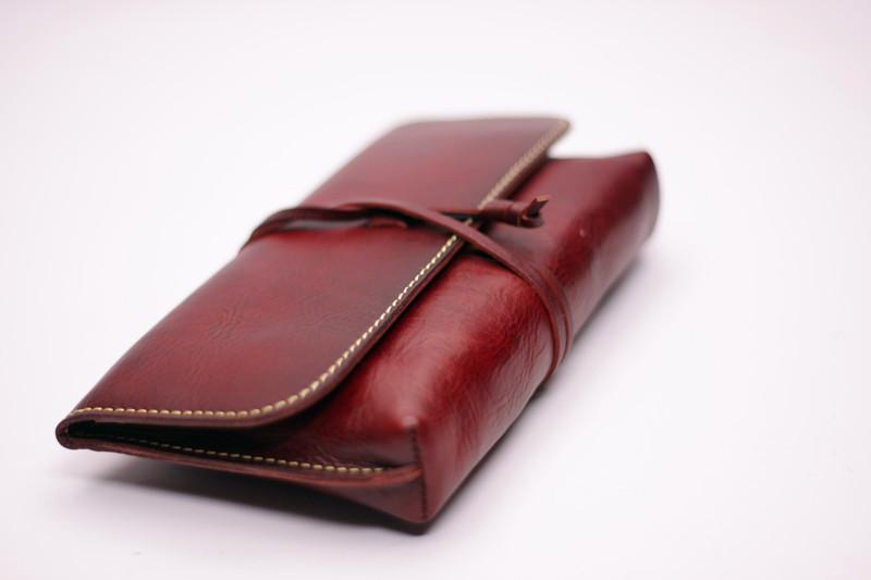 头层牛皮 真皮 手工 钱包 手包 绕绳 复古 红棕 酒红