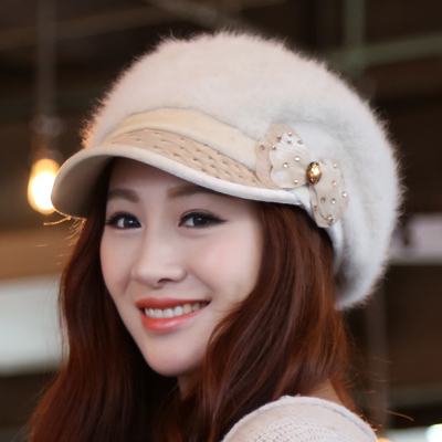 Rabbit fur hat female England autumn and winter beret hat lady Korean fashion tide solid winter bud cap