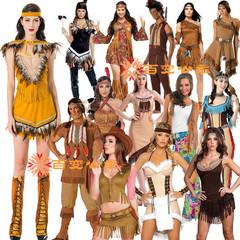 万圣节服装印第安人服cos成人非洲土著原始野人女酋长丛林猎人服