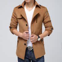 秋冬休闲男士经典免烫短款毛呢外套青年时尚修身西装领呢子大衣男