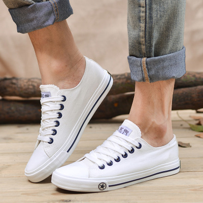Summer male Korean men breathable canvas shoes white shoes British tide shoes student shoes big yards casual shoes