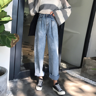 春装女装高腰宽松阔腿裤直筒裤显瘦九分裤牛仔裤学生长裤