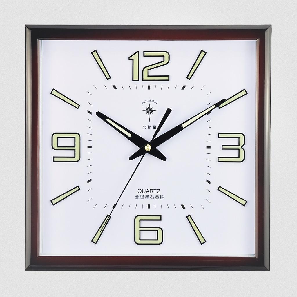 北极星中式挂钟静音夜光石英钟方形卧室挂表现代钟表客厅小时钟