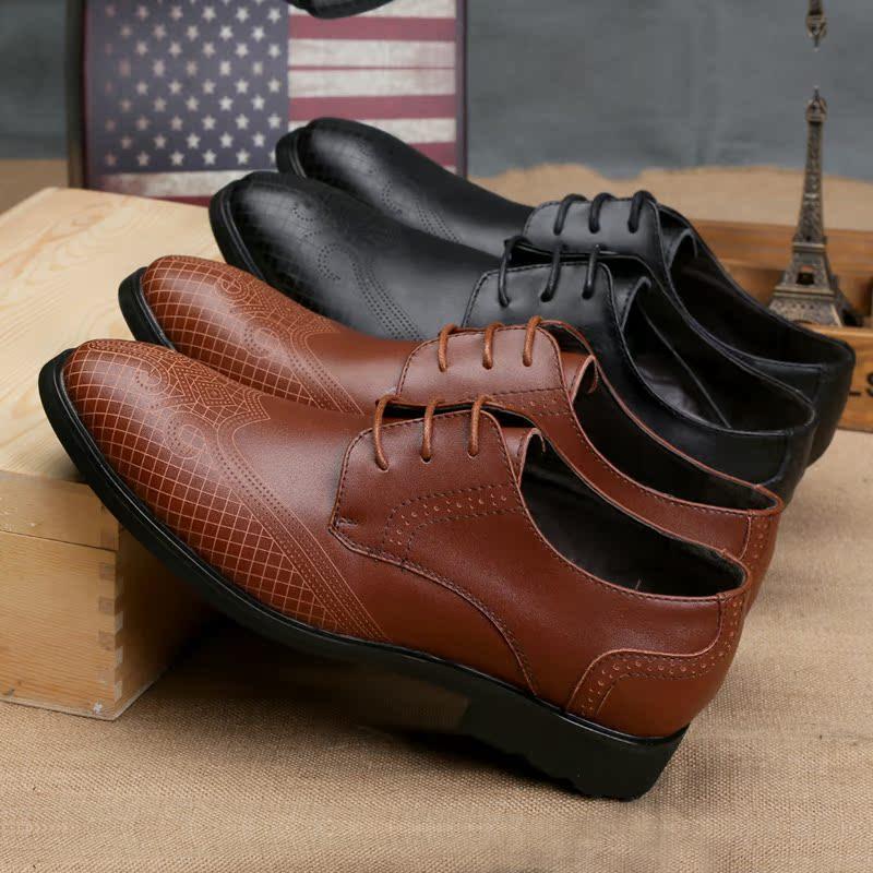展艺 新款英伦布洛克雕花男鞋休闲皮鞋真皮低帮鞋透气复古潮鞋子