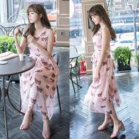 夏季新款女装2016新款夏季 韩版时尚蝴蝶时尚连衣裙高档印花长裙
