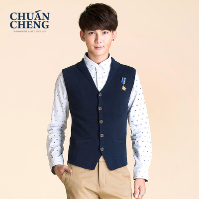 Men's new fall tradition Korean tidal cotton knit vest men's knit cardigan vest