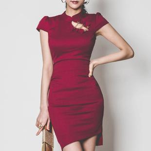 2017夏装连衣裙红色气质名媛女装OL改良旗袍优雅裙子