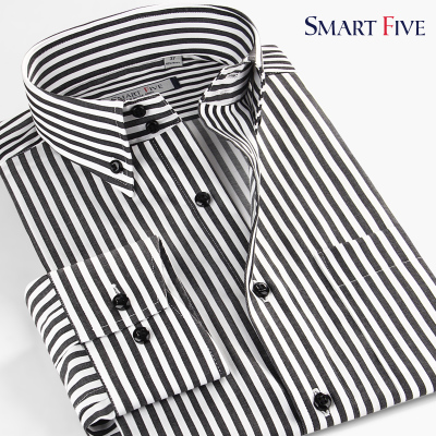 SmartFive cotton non-iron classic black and white striped business shirt collar buckle men's long-sleeved shirt Slim version