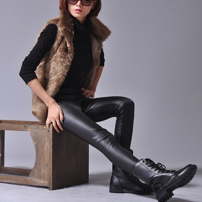 Piku new winter more big yards pencil pants with velvet leggings leisure feet pants tight leather pants female trousers