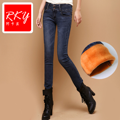 2014 new autumn and winter plus velvet jeans Ms. Slim was thin tight pencil pants feet thick warm
