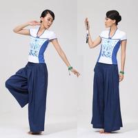 活力哈达高端中式夏季修身短袖瑜伽服套装宽松亚麻瑜伽裤大码练功