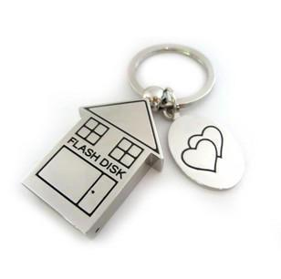 Flash-Metal keychain house u disk 16G stainless steel creative business custom logo USB free shipping