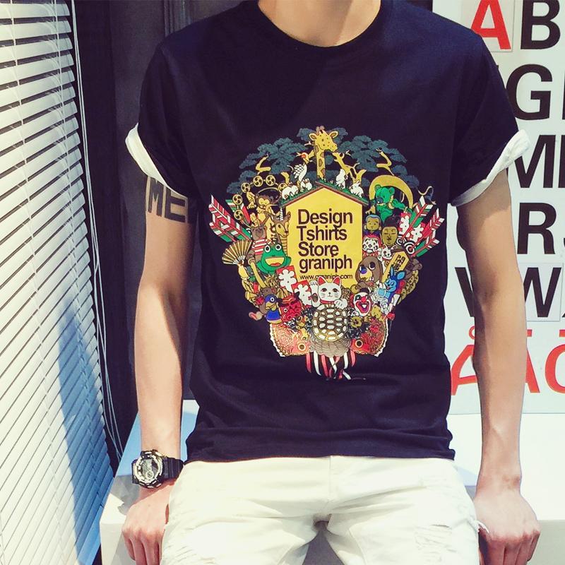 2015夏季新品港系潮男圆领休闲短袖T恤日系复古半截袖青少年汗衫