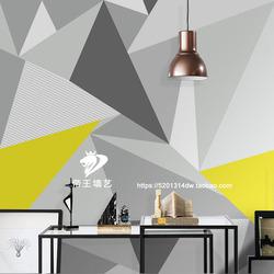 北欧风格几何图案图形灰色壁纸客厅电视背景墙素色现代简约壁画图片