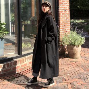 2017冬季女装斗篷黑色毛呢外套女长款过膝茧型呢子大衣厚