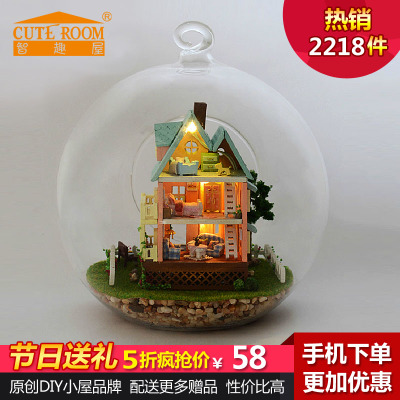Chi Fun house diy cabin handmade glass house my little bungalow house model assembled birthday gift