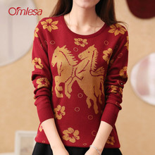 2014 new omlesa qiu dong han edition double horse flowers long-sleeved round collar Set of knitted sweater render women