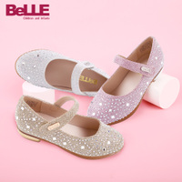 百丽童鞋女童公主鞋小码表演鞋皮鞋女方跟时尚彩钻2016新款