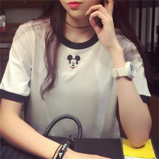 夏季韩版卡通刺绣短袖体恤新款大码宽松半袖闺蜜学生上衣T恤女装