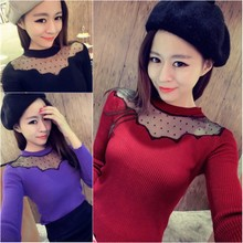 And South Korea handsome joker wave point of bud silk joining together cultivate one's morality show thin round collar knitting long-sleeved top female
