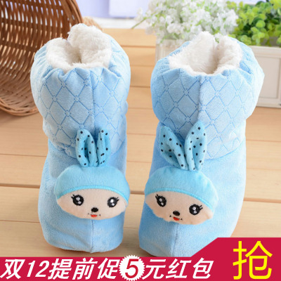 Autumn and winter padded shoes baby shoes baby 0-1 years old newborn warm snow boots shoes soft bottom lacing