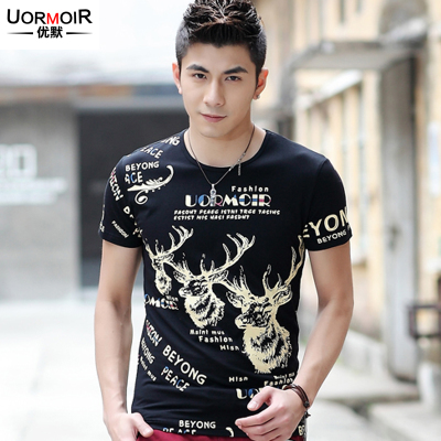 Excellent Moxia clothes new men's short-sleeved t-shirt printing 2014 cotton men's short-sleeve T-shirt knit Korean Slim