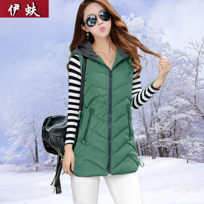 Iraq beetle 2014 new winter vest and long sections Korean Slim Hooded jacket female wild silk waistcoat