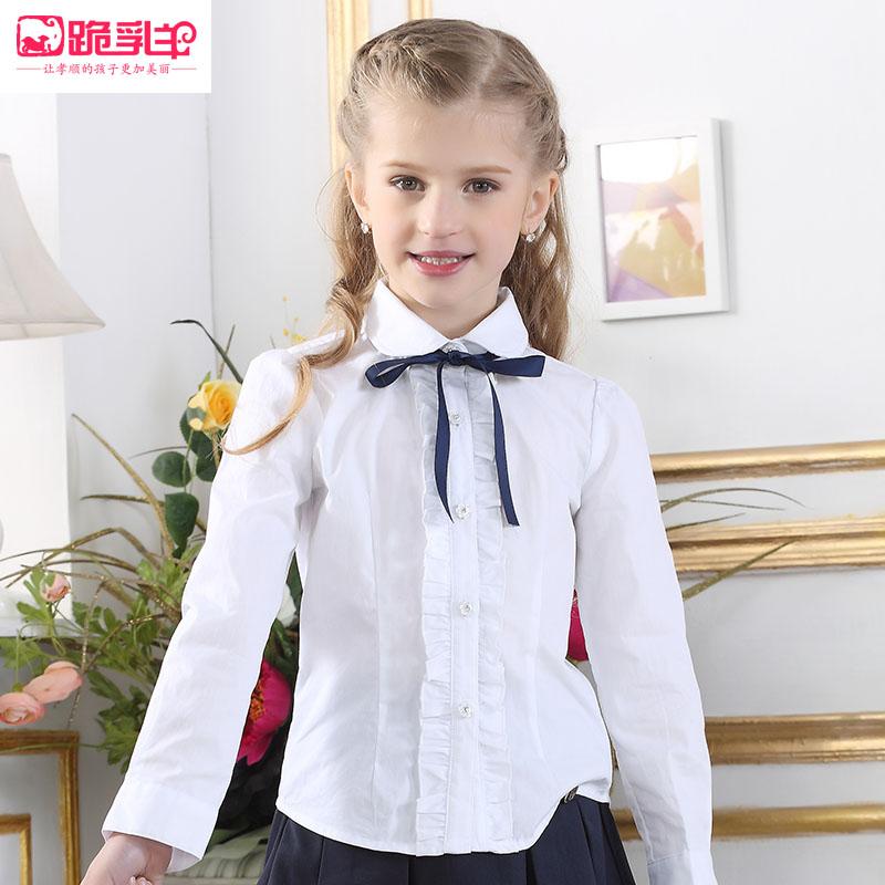 学院风童装 女童白衬衫春秋装新款儿童长袖白衬衣女大童宝宝衬衫