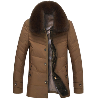 Greenwood hunter fox fur collar down jacket middle-aged men lapel fat thickening long section plus fertilizer XL men